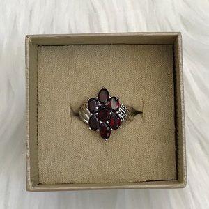 Garnet Flower Sterling Silver Ring